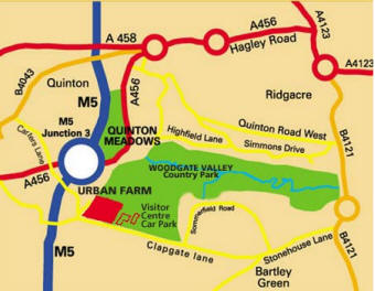 Map and directions to Woodgate Valley Urban Farm